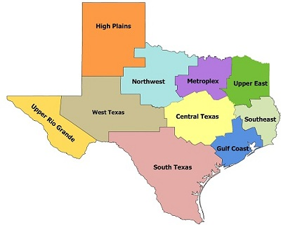 Map Of Texas 4 Regions.Thed Texas Higher Education Regional Portal